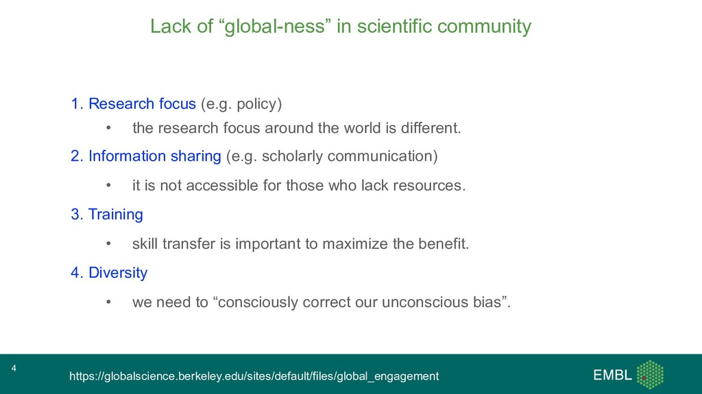 """Lack of """"global-ness"""" in scientific community 1..."""