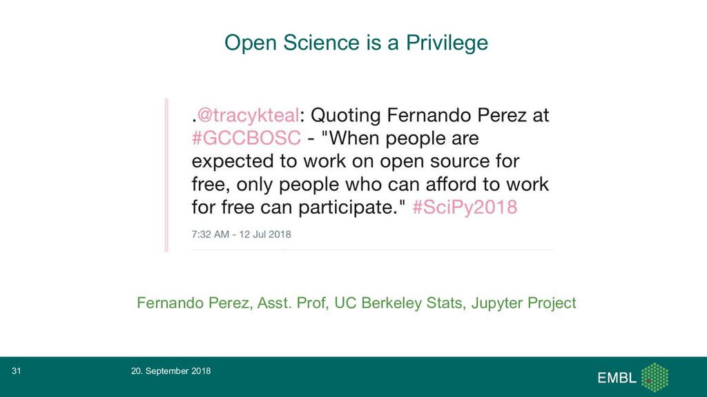Open Science is a Privilege Fernando Perez, Ass...