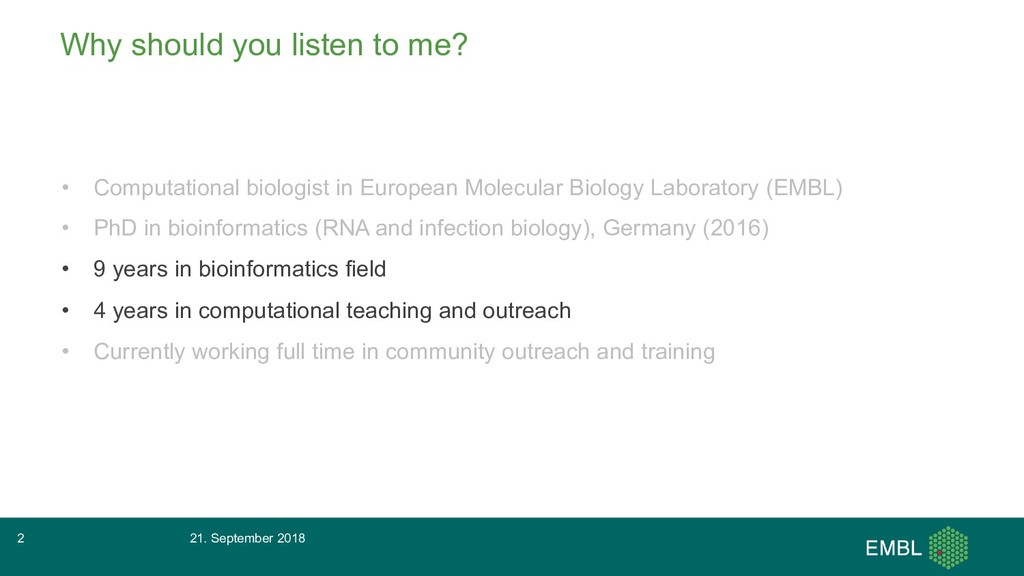 Why should you listen to me? • Computational bi...