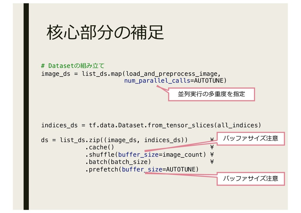 # Datasetの組み⽴て image_ds = list_ds.map(load_and_...