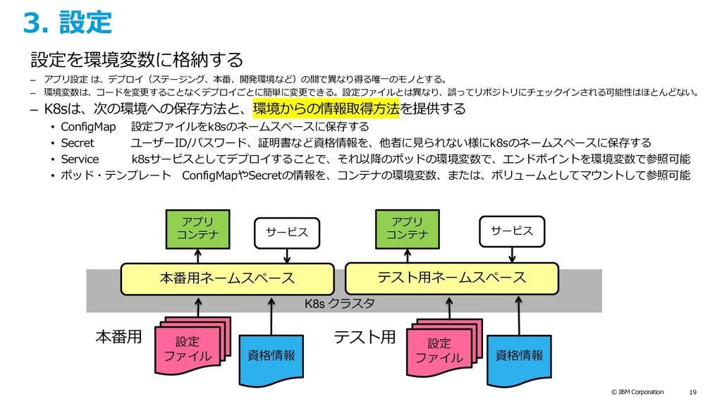 © IBM Corporation 19 3. 設定 設定を環境変数に格納する – アプリ設定...