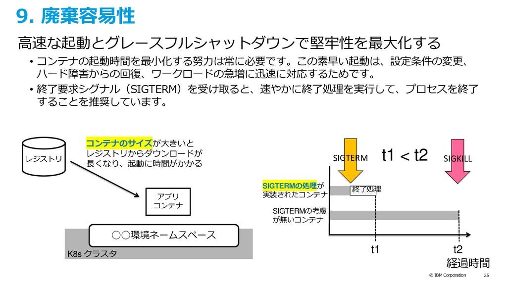 © IBM Corporation 25 9. 廃棄容易性 高速な起動とグレースフルシャットダ...