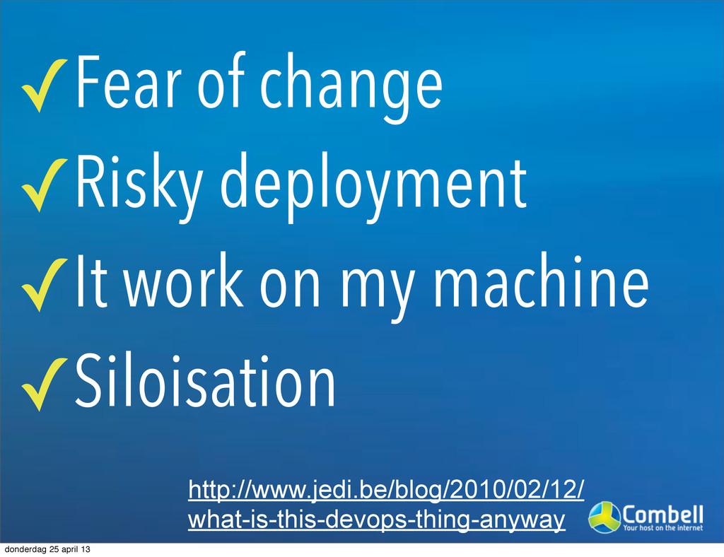 ✓Fear of change ✓Risky deployment ✓It work on m...