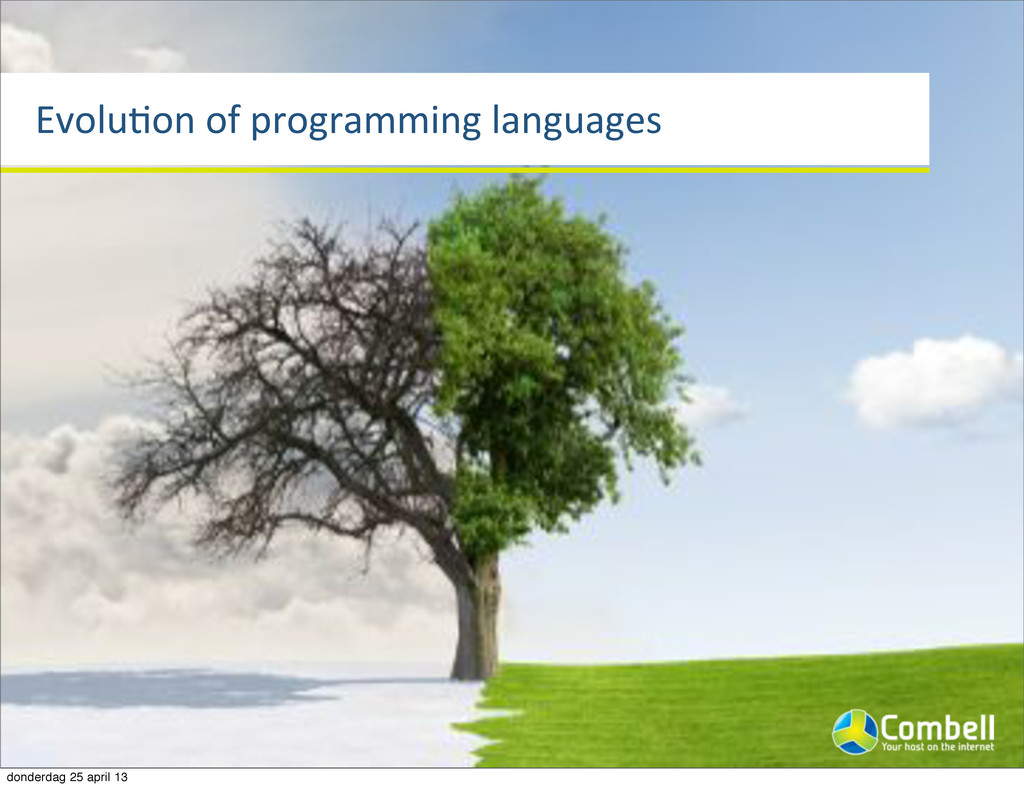 EvoluTon%of%programming%languages donderdag 25 ...