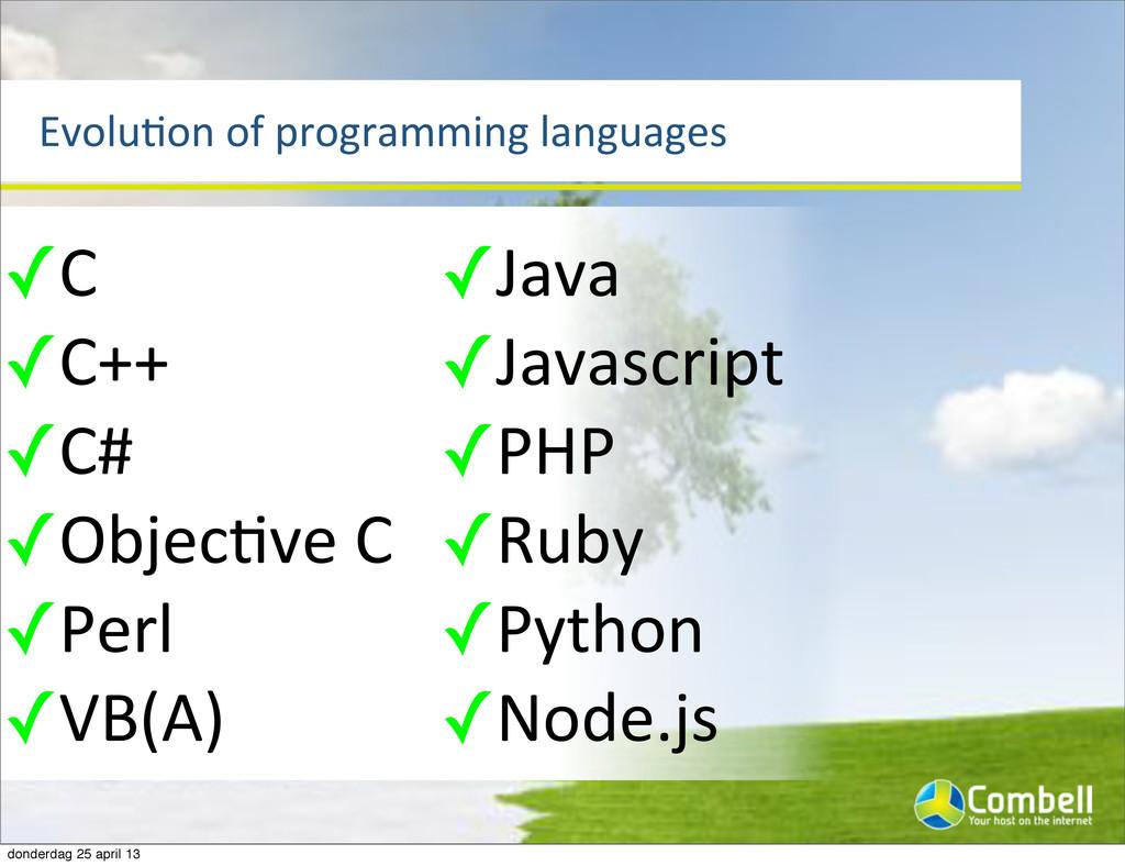 EvoluTon%of%programming%languages ✓C ✓C++ ✓C# ✓...