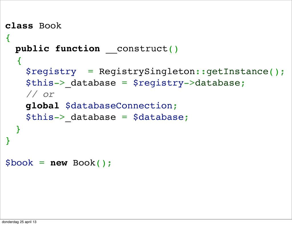 class Book { ! public function __construct() { ...