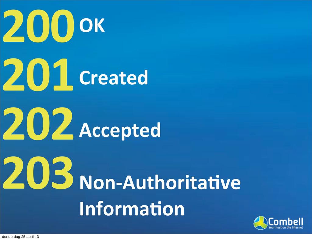 200 201 202 203 OK Created Accepted Non3Authori...