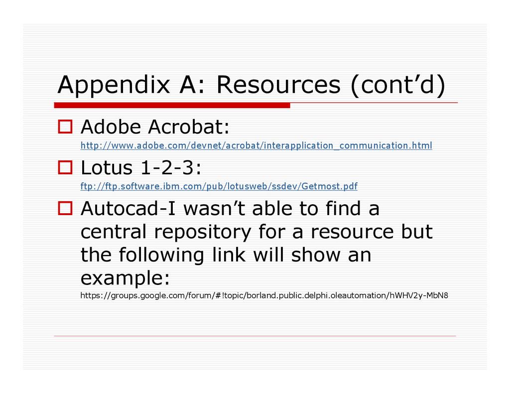 Appendix A: Resources (cont'd) Adobe Acrobat: h...