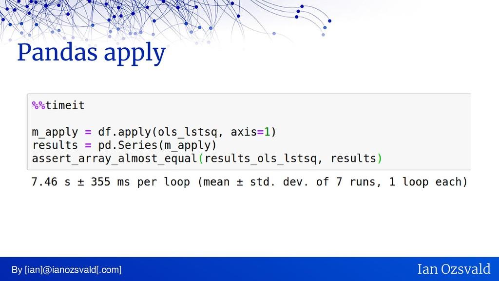 Pandas apply By [ian]@ianozsvald[.com] Ian Ozsv...