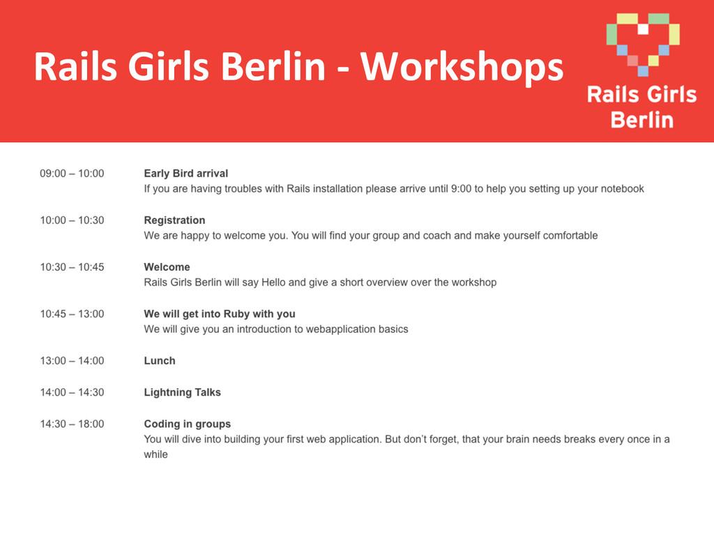 Rails Girls Berlin -‐ Workshops