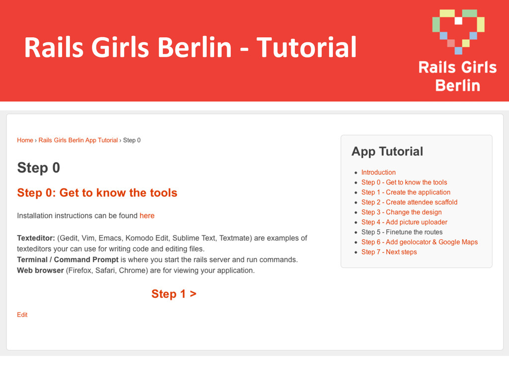 Rails Girls Berlin -‐ Tutorial