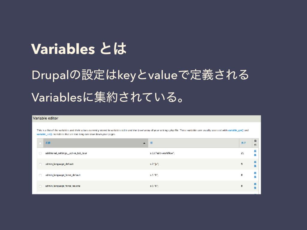 Variables ͱ DrupalͷઃఆkeyͱvalueͰఆٛ͞ΕΔ Variable...