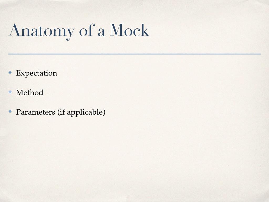 Anatomy of a Mock ✤ Expectation! ✤ Method! ✤ Pa...