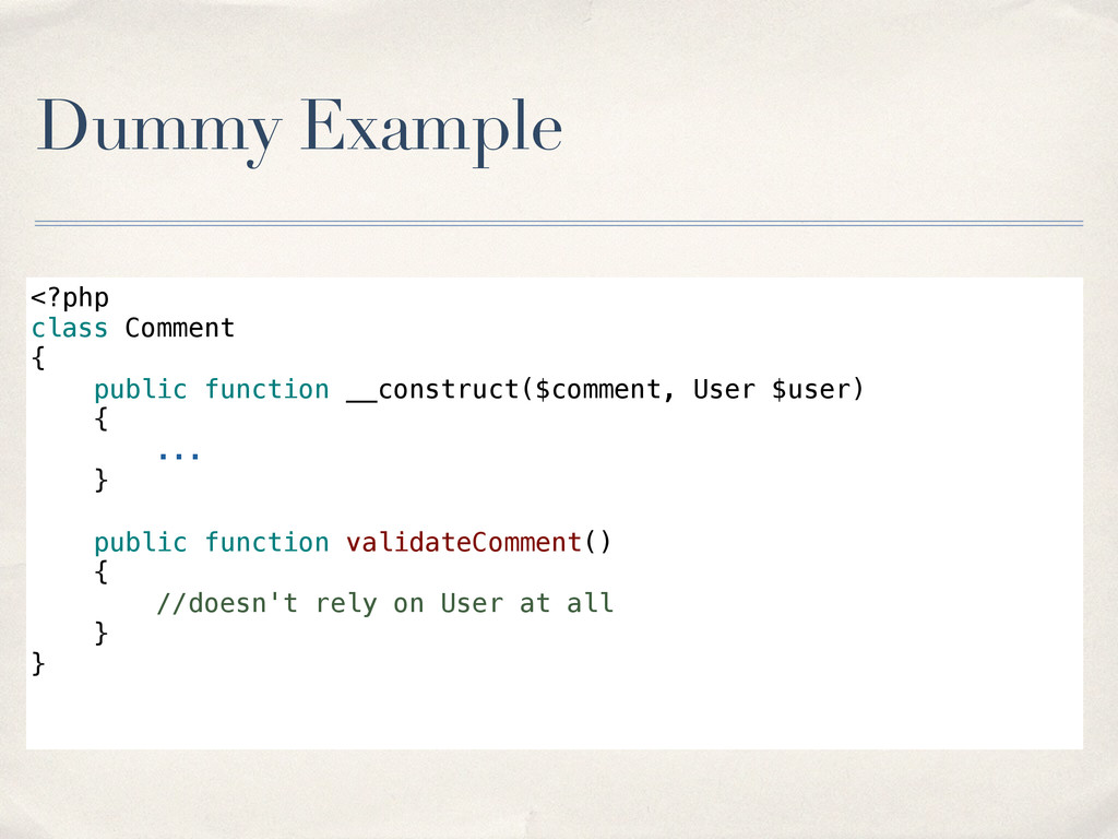 Dummy Example <?php class Comment { public func...