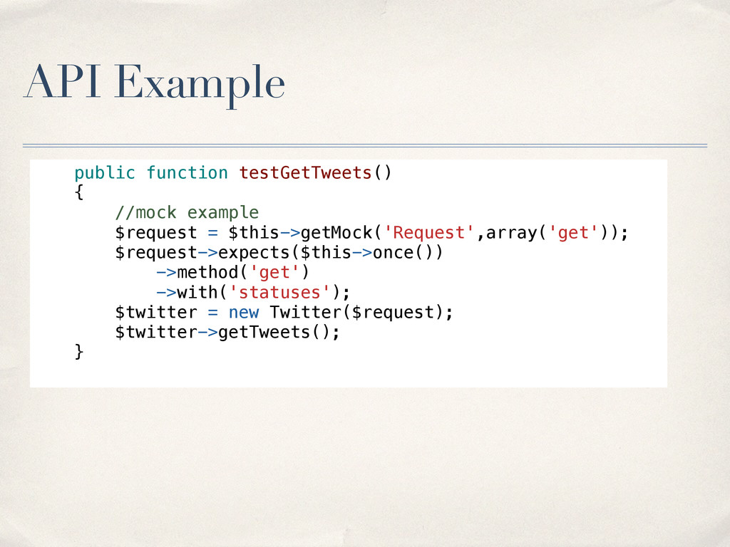 API Example public function testGetTweets() { /...