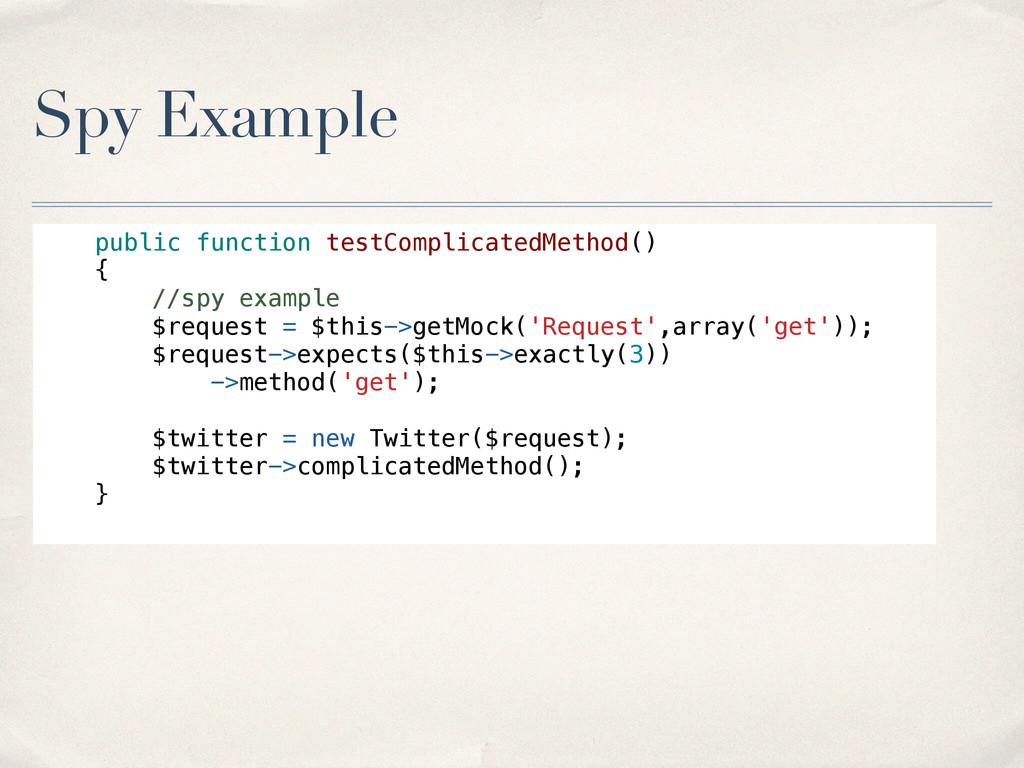 Spy Example public function testComplicatedMeth...
