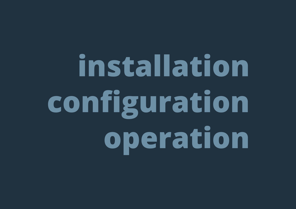 installation configuration operation