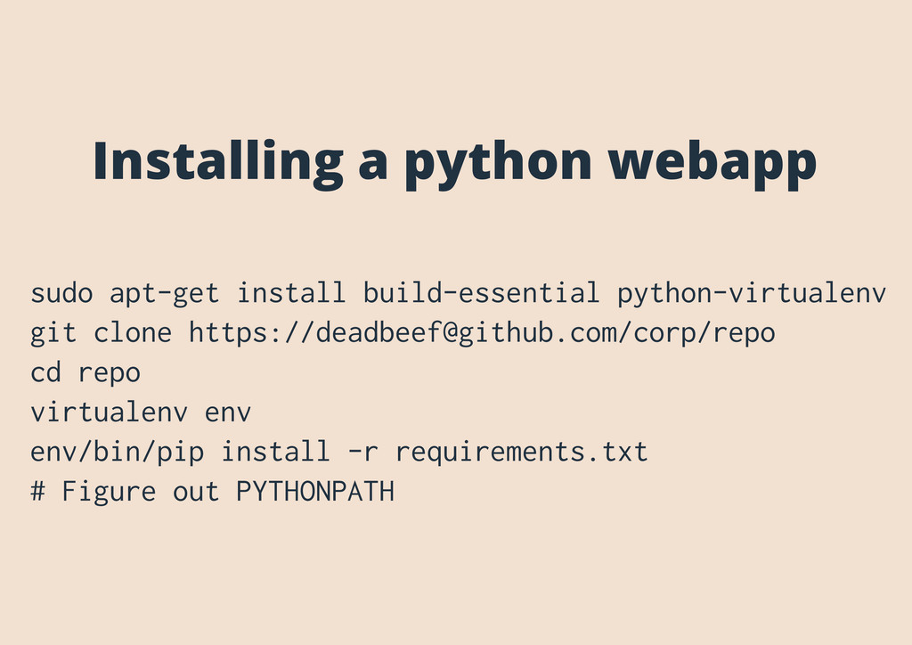 Installing a python webapp sudo apt-get install...