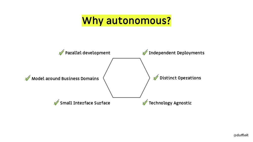 @duffleit Why autonomous? ✔ Independent Deploymen...