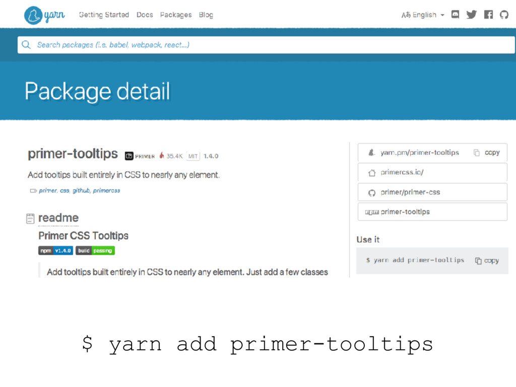 $ yarn add primer-tooltips