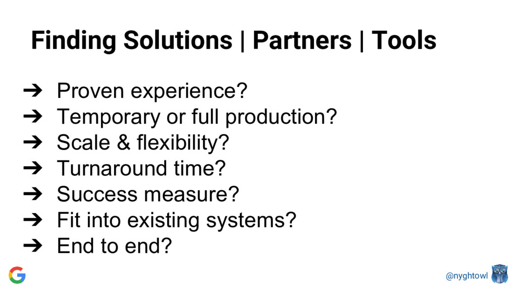 @nyghtowl Finding Solutions | Partners | Tools ...