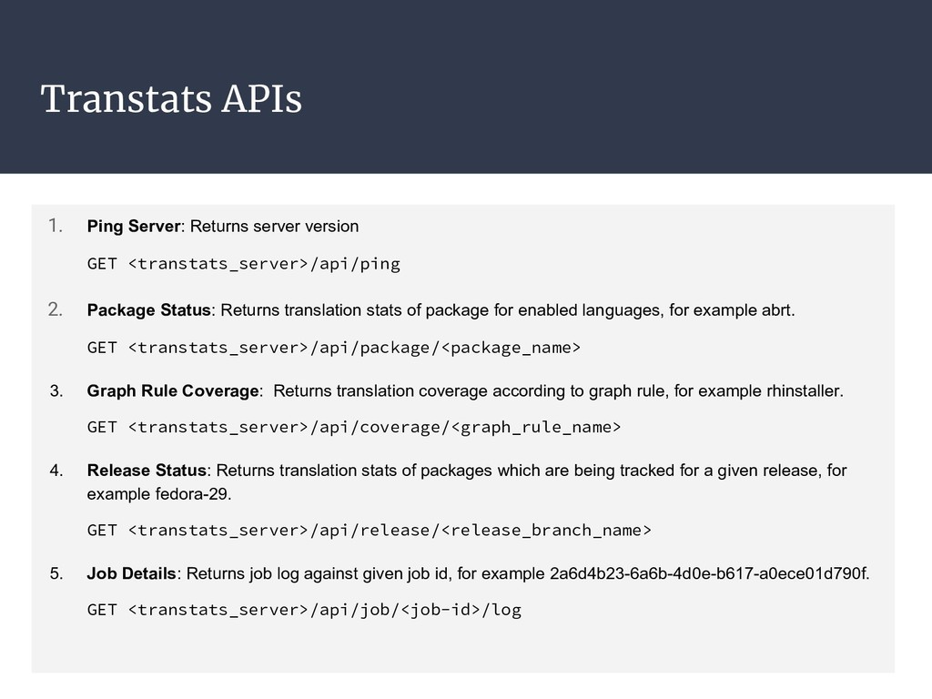 Transtats APIs 1. Ping Server: Returns server v...