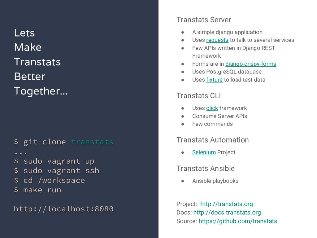 Lets Make Transtats Better Together... $ git cl...