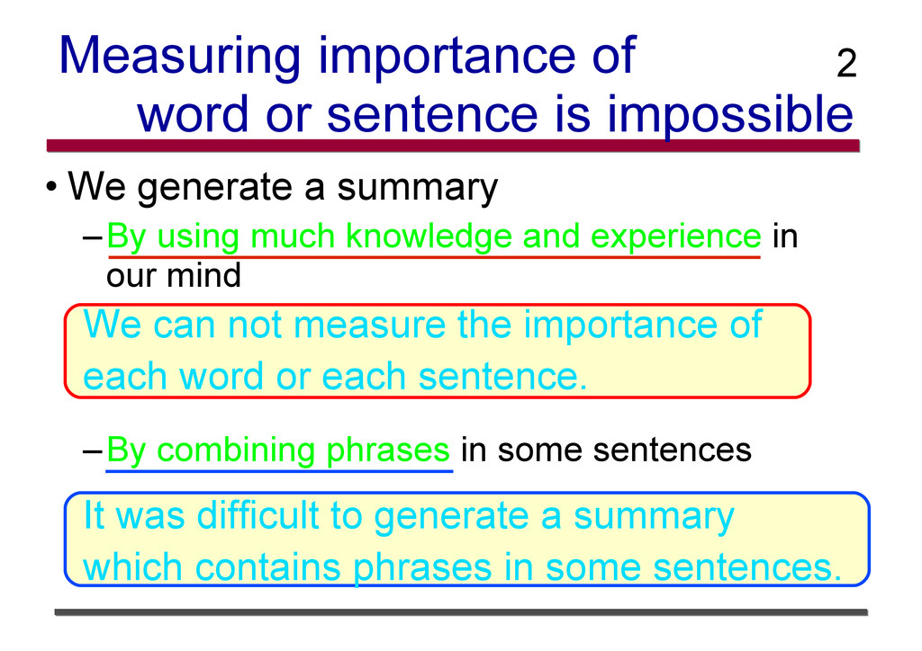 Measuring importance of word or sentence is imp...