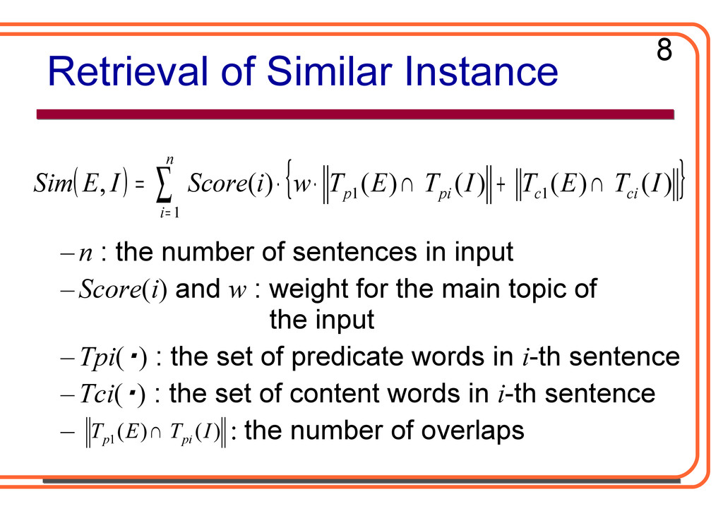 Retrieval of Similar Instance – n : the number ...