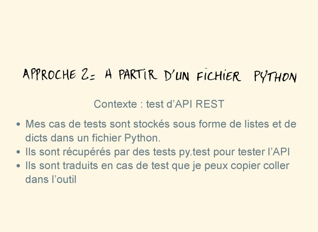 Contexte : test d'API REST Mes cas de tests son...