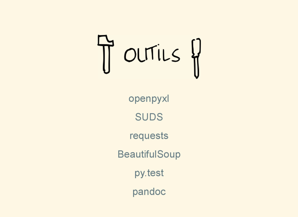openpyxl SUDS requests BeautifulSoup py.test pa...