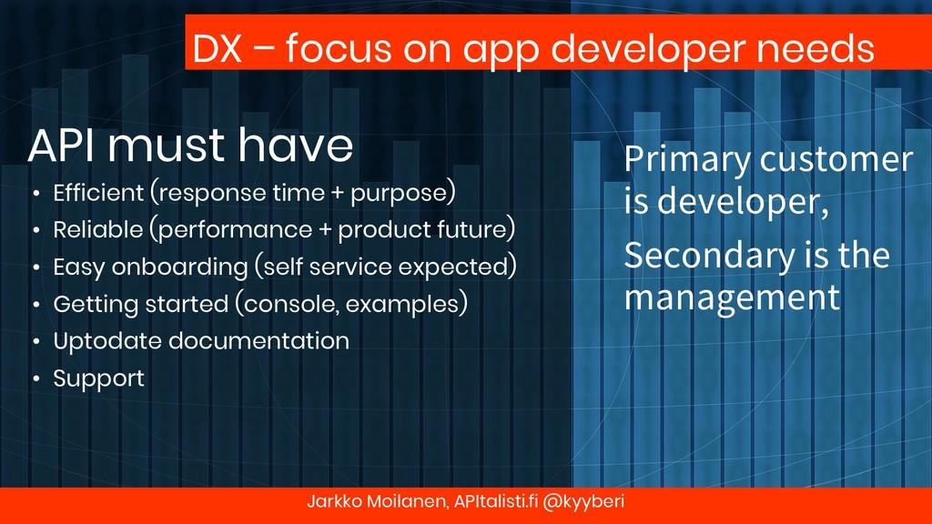 DX – focus on app developer needs API must have...