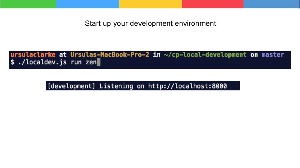 Start up your development environment