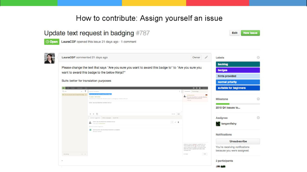 How to contribute: Assign yourself an issue