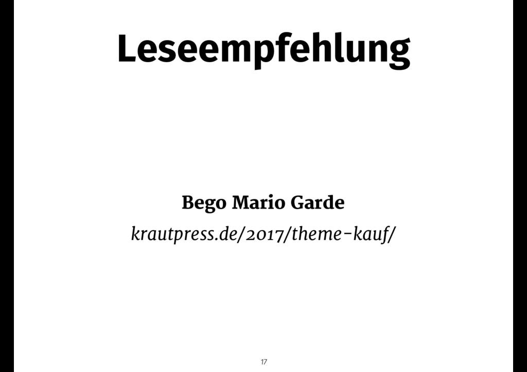 Leseempfehlung Bego Mario Garde  krautpress.de/...