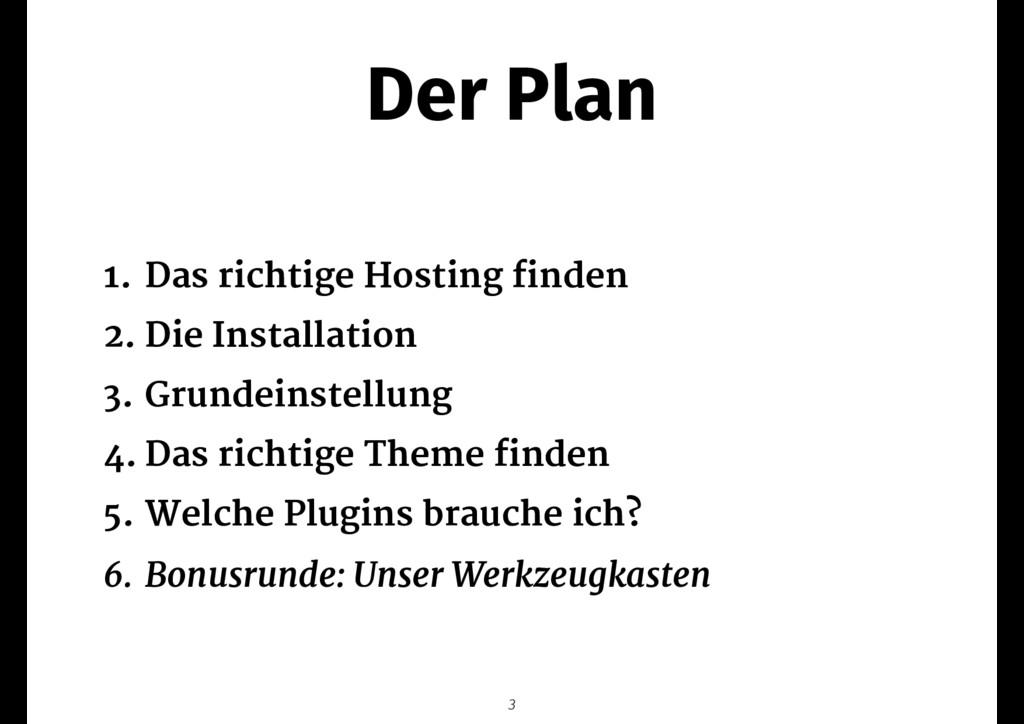 Der Plan 1. Das richtige Hosting finden  2. Die...
