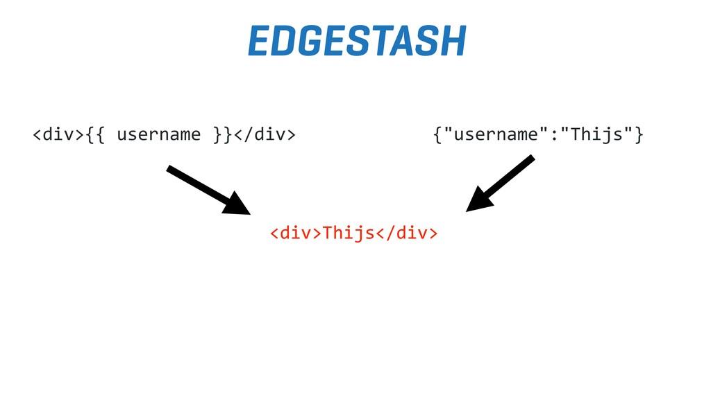 "EDGESTASH {""username"":""Thijs""} <div>{{ username..."