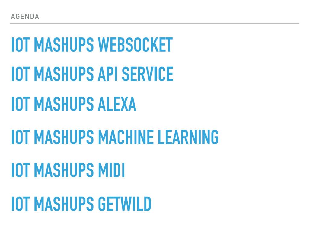 AGENDA IOT MASHUPS WEBSOCKET IOT MASHUPS API SE...