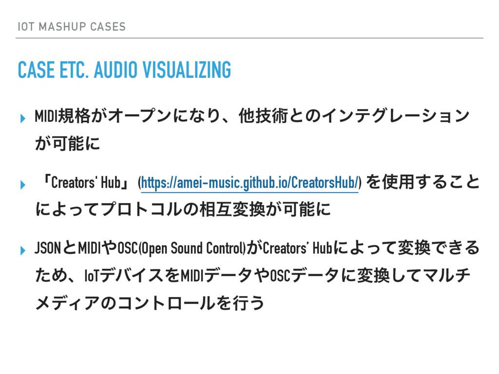 IOT MASHUP CASES CASE ETC. AUDIO VISUALIZING ▸ ...
