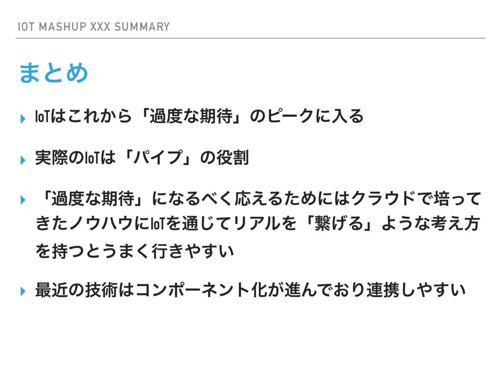 IOT MASHUP XXX SUMMARY ·ͱΊ ▸ IoT͜Ε͔Βʮաͳظʯͷϐʔ...