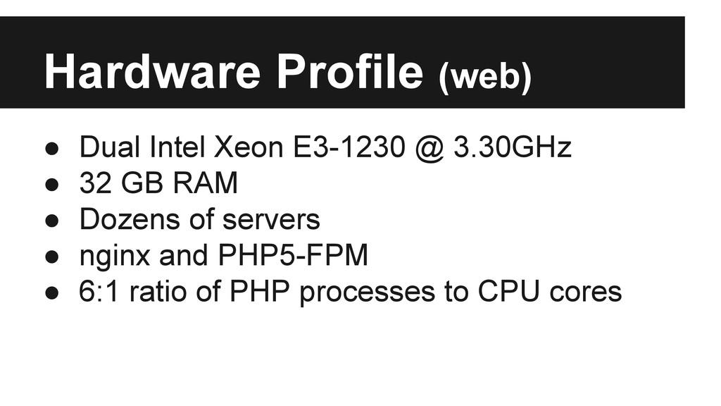 Hardware Profile (web) ● Dual Intel Xeon E3-123...