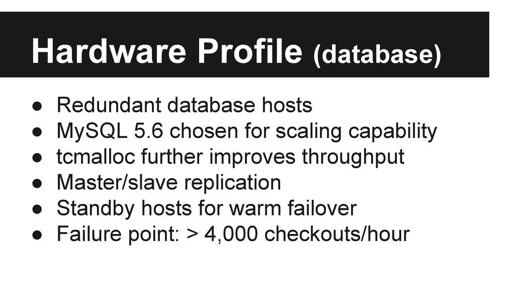 Hardware Profile (database) ● Redundant databas...