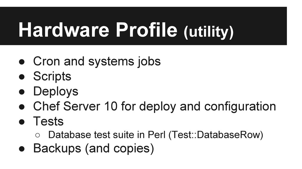 Hardware Profile (utility) ● Cron and systems j...