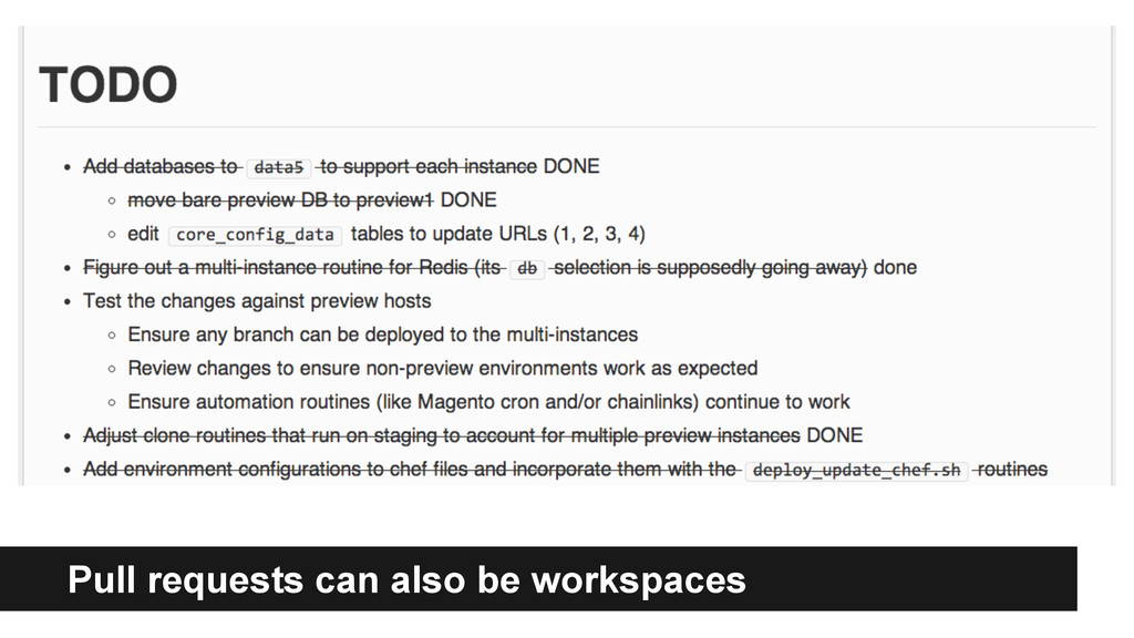 Code Review Pull requests can also be workspaces