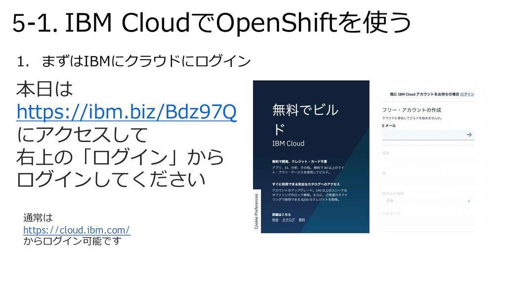5-1. IBM CloudでOpenShiftを使う 1. まずはIBMにクラウドにログイン...