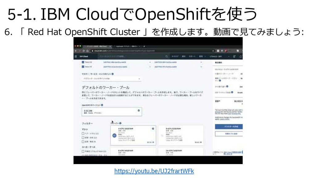 5-1. IBM CloudでOpenShiftを使う 6. 「 Red Hat OpenSh...