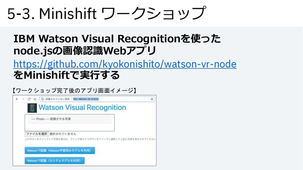 5-3. Minishift ワークショップ IBM Watson Visual Recogn...