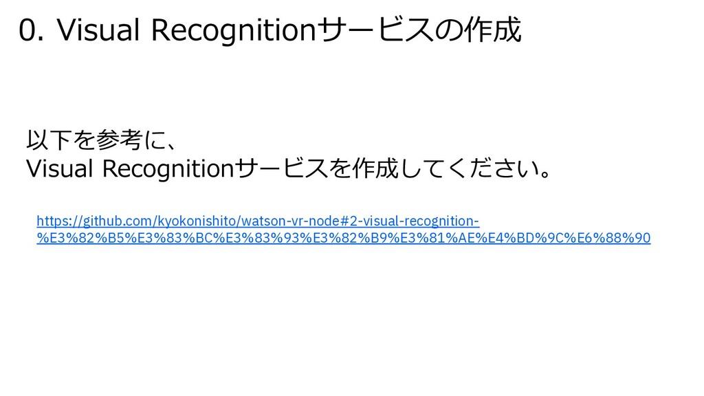 0. Visual Recognitionサービスの作成 以下を参考に、 Visual Rec...