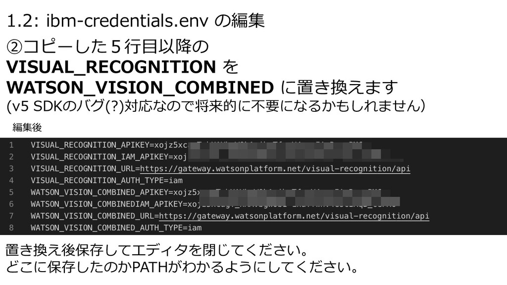 1.2: ibm-credentials.env の編集 ②コピーした5⾏⽬以降の VISUA...