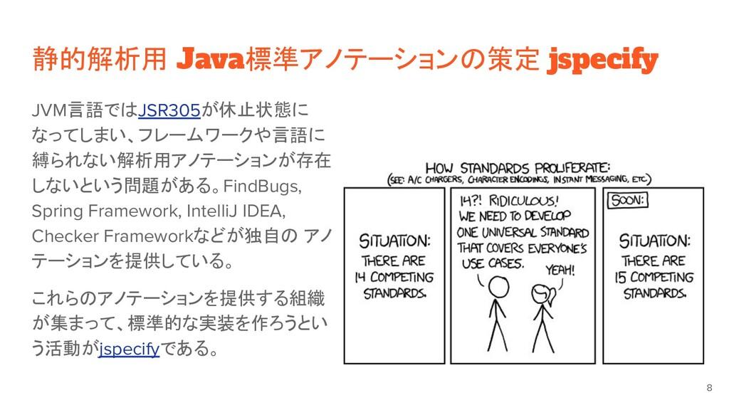 静的解析用 Java標準アノテーションの策定 jspecify JVM言語ではJSR305が休...